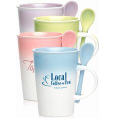 14 oz. Pastel gradient ceramic mug with spoon. Size 4.85 x 3.5 rim x 2.5 base.