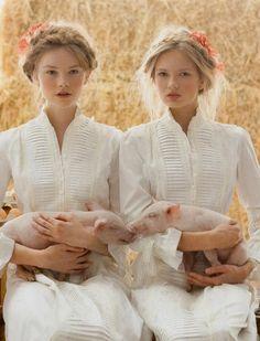 Romee Strijd and Donna Loos by Stefania Paparelli in La edad de la inocencia (The age of innocence) for Vogue Novias Spring/Summer 2010