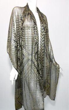 Dorothea's Closet Vintage ARCHIVES pg 2 designer vintage dress  1920s black and silver assuit shawl