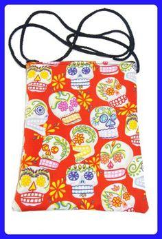 US Handmade Fashion Passport Cover Bag CALAVERAS SUGAR SKULLS Day of the Dead Skulls Gothic Pattern Shoulder Bag US Handmade Handbag Purse Alexander Henry Cotton Fabric, RED Color, PT 1015 - Shoulder bags (*Amazon Partner-Link)