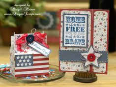 "4th of July treat box and card by Brigit Mann using cutting files designed by Lori Whitlock.  Includes step-by-step tutorial on using ""compound path"" feature."