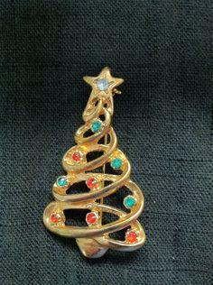 Christmas Tree Pendant/Brooch/Pin. Etsy.
