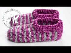 (2) Вязание тапочек крючком - YouTube