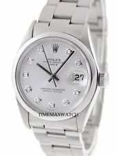 Vintage Men's 34mm Rolex Oyster Perpetual Date Silver Automatic Watch