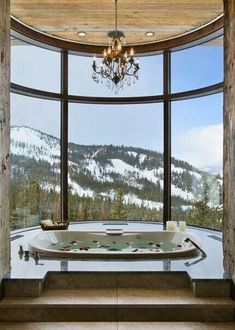 Jacuzzi tub with a scenic view