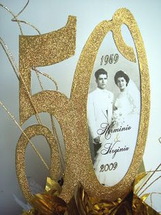 Golden Anniversary Centerpieces   Designs by Ginny: 50th Anniversary Centerpiece