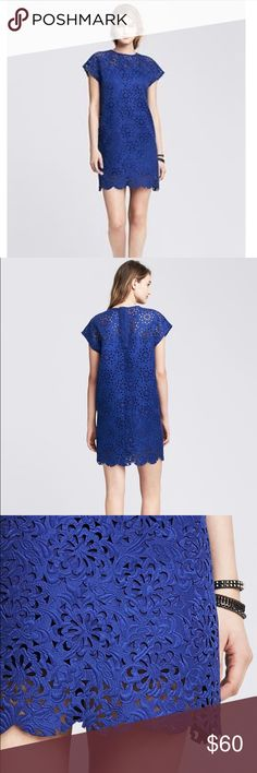 """🎉Fall Sale🎉 BR MONOGRAM CUTOUT LACE SHIFT The BR Monogram collection is defined by precision tailoring, fine fabrics and distinctive details, making each piece an incomparable investment in outstanding quality. * Crew neck. Cap sleeves. Oversized fit * Buttoned placket at back neck. Partially lined. * Body length: 36"""".  * 74% Polyester, 22% Cotton, 4% Rayon. * Dry clean. Banana Republic Dresses"""