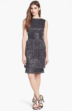 Found my dress for the wedding!   Maggy London Tiered Metallic Sheath Dress available at #Nordstrom