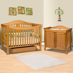 DaVinci 2 Piece Nursery Set   Parker 4 In 1 Convertible Crib With Toddler  Rail And 2 Door Changing Table   Oak