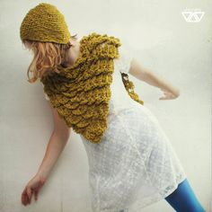 cotton and acrylic crochet  scarf. yellow khaki mustard by diEnes, €24.00