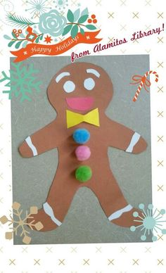 Happy Winter Season! It's sure getting cold & hot chocolate is in order! What goes good with hot chocolate? A gingerbread man cookie! We're making a gingerbread man cookie craft here for our winter storytime @ Alamitos library!