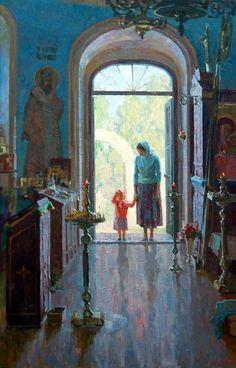 Byzantine, Texas: Presentation in the Temple by Anna Boganis Religious Images, Religious Art, Religion, Catholic Art, Orthodox Icons, Russian Art, Sacred Art, Christian Art, Kirchen