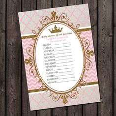 Princess baby shower game guess the baby food by AmysSimpleDesigns