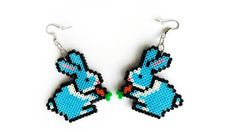 Bunny Rabbit Earrings - Bunny Jewelry, Hook or Clip-On, Pixel Jewelry, Perler Beads, Hama Beads by 8BitEarrings on Etsy