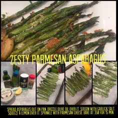 Spread asparagus out on pan. Drizzle olive oil over it. Season with garlic& salt. Squeeze a lemon over it. Sprinkle with Parmesan cheese. Bake at 350 for 15 min. Parmesan Asparagus, Garlic Salt, Love Food, Olive Oil, Lemon, Cheese, Baking, Bakken, Backen