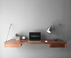 Floating Desk With Storage Walnut Wall Mounted Desk Wall Canapé Design, Interior Design, Floating Wall Desk, Wall Mounted Shelves, Shelf, Space Saving Desk, Desk Inspiration, Desk Storage, Small Space Living