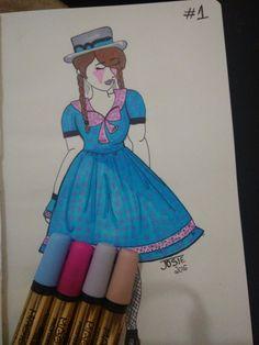 ~ Lolita Country primaveril azul com flores pequenas cor de rosa ~  Nanquim em caneta e marcadores coloridos em papel Pólen.
