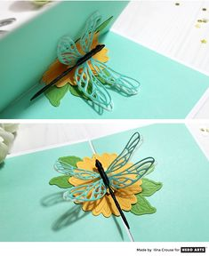 Video: Pop-Up Dragonfly Card by Ilina Crouse for Hero Arts Fancy Fold Cards, Folded Cards, Butterfly Cards, Butterfly Template, Butterfly Dragon, Monarch Butterfly, Pop Up Flowers, Pop Up Card Templates, Tarjetas Pop Up