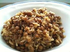 Lebanese rice and lentil,vegan dish goes great with Lebanese salad and plain yogurt.