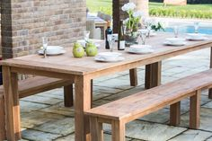 Reclaimed Teak Backless Outdoor Dining Bench Slatted 160cm Creating zones is a clever way to add interest to an outdoor space and make it feel bigger than it is. This garden bench has a dining table by the house, creating a dining section of the garden where you can really enjoy sitting while eating!