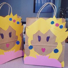 Princess peach loot bags for Mario themed birthday parties