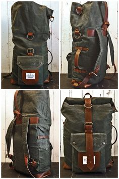 The Nomad II Backpack. Hand waxed canvas leather roll top bag