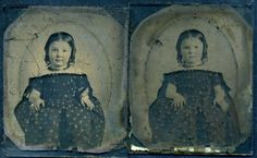 2 Ambrotypes identical Twin Girls Same Exposed Shoulders Dresses Doll | eBay