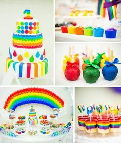 Rainbow Birthday Party with LOTS of CUTE Ideas ~  M & Ms, cupcakes with rainbows, rainbow balloons, etc.!