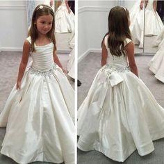 Princess A-line White Long Flower Girl Dress