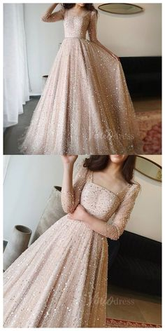 Sparkly Prom Dresses, Prom Dresses Long With Sleeves, Party Wear Dresses, Evening Gowns With Sleeves, Long Dresses, Sequin Dress Long Sleeve, Fancy Wedding Dresses, Long Gowns, Party Gowns