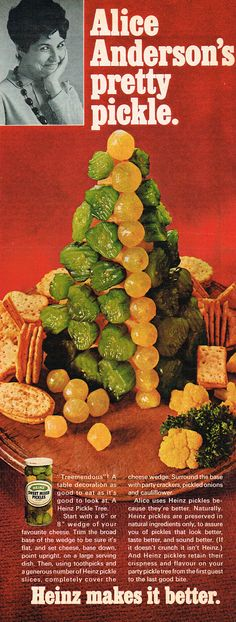 Heinz Pickle Tree. A festive centerpiece for your Christmas buffet. (1967) // I... I'm confused..
