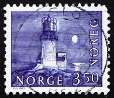 NORWAY - CIRCA 1983: a stamp printed in the Norway shows Lighthouse, Lindesnes, 1655, Norway, circa 1983