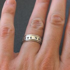 Handmade Spinner Ring in Sterling Silver - Say what YOU want - Made to Order with Uppercase Block Font