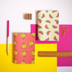 Satz von zwei fruchtig Notebooks / Banane und von NotOnlyPolkaDots
