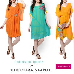 "COLOURFUL TUNICS BY KARIESHMA SARNAA: ""The chief function of colour should be to serve expression"" So what is your mood today?  Shop a wide range of colourful tunics at: http://www.glitstreet.com/occasion/tunics-karieshmasarnaa/"