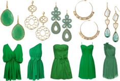 """Green Bridesmaids with Statement Earrings"" www.stelladot.com/elizabeth"