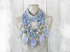 Scarf knit necklace infinity boho loop felt Art Hand Knitted