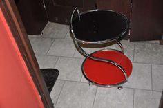 Stolik Barowy BAR6 szkło+chrom czarno/czerw halmar Zabrze - image 2