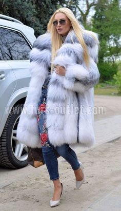 NEW 2017 ARCTIC ROYAL FOX FUR COAT CLAS CHINCHILLA SABLE MINK SILVER LONG JACKET | Clothes, Shoes & Accessories, Women's Clothing, Coats & Jackets | eBay!