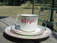 Aynsley Trio Tea CUP SAUCER & Plate GOLD Trim Hand Painted Art Deco Poppies NICE #Aynsley