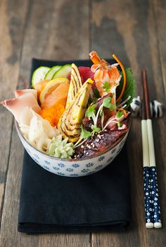 Japanese Rolled Omelette (Tamagoyaki) and Chirashi Bowl
