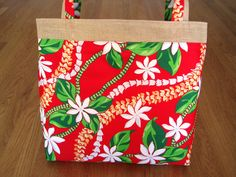 Large Tote Bag Hawaiian Red, White Tiare Flowers, Yellow, Green Leis, Leaves, Cotton, Beige Burlap Travel Valentine Christmas Beach gift eke ~ Available on www.MaliakeiBags.com