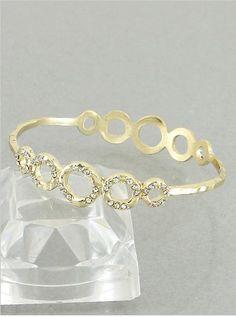 Amazon.com: Designer Inspired Goldtone Bangle Bracelet with Rhinestone Circle Pattern.: Jewelry