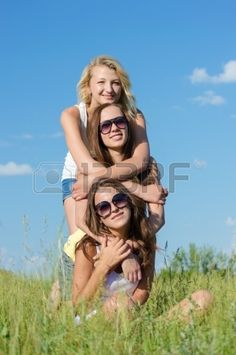 Picture of Three happy teen girls sitting on green grass and embracing against blue sky on bright summer day stock photo, images and stock photography. Group Picture Poses, Cute Photo Poses, Cute Poses For Pictures, Sister Pictures, Cute Friend Pictures, Friend Photos, Best Friends Shoot, Best Friend Poses, Friend Poses Photography