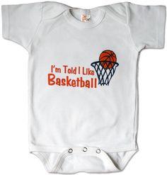 I'm Told I Like Basketball baby and toddler shirt on Etsy, $15.00