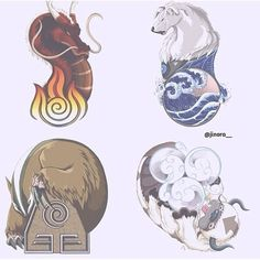 Avatar the Last Airbender. This is a cool representation of the elements and the first benders, although it should technically be the moon for water but it's still nice nonetheless.