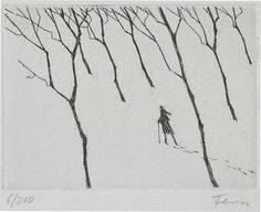 Wanderer im Winter - Paul Flora Printmaking, Winter, Flora, Sketches, Draw, Black And White, Abstract, Creative, People