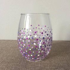 Stemless 16oz wine glass. Hand dotted. Made to order. Choose up to 5 colors (see final picture for color choices) and message me in comments. This listing is for 1 wine glass. Painted with non-toxic glass paint.