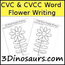 3 Dinosaurs - CVC & CVCC Word Family Writing Flowers
