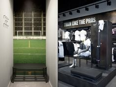 Juventus Store by NIKE, Turin store design. Fitting room design—wall mural of a sporty setting.